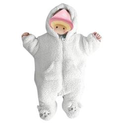 Newborn Boy Girl Kids Hooded Romper Jumpsuit Bodysuit Outfits White 0-3 Months