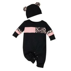 Newborn Girls Boy Winter Long Sleeve Romper Jumpsuit+Hat Black 0-6 Months