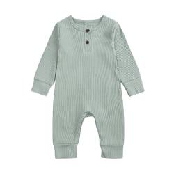 Newborn Girls Boys Romper Jumpsuit Bodysuit Long Sleeve Outfit Light Gray 0-4 M