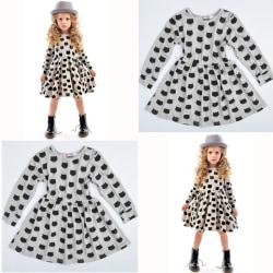 O Neck Cat Printed Tutu Dress Baby black white 90 cm