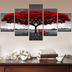 Red Tree Bench Pentathic Wall Home Room Art Decoration Painting