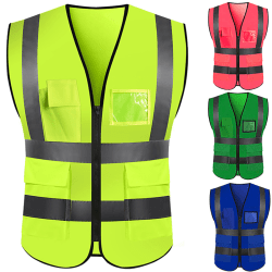 Safety Visibility Waistcoat Reflective Vest with 4 Pockets blue XL