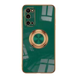 Samsung S20-serien Stötsäker ringhållare Mobilskal telefonväska dark green S20 fine hole