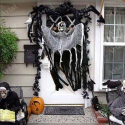 Scary Ghost Hanging Skull Halloween Decoration Door Home grey