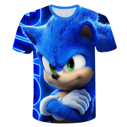 Sonic The Hedgehog Kids Boys 3D T-shirt Casual Tops Game Gift Blue 5-6 Years
