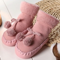 Toddler Baby Boy Girls Anti-Slip Boot Socks Winter Autumn Soft Pink 12CM