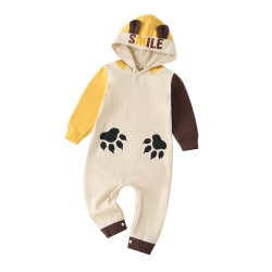 Toddler Baby Boy Girls Hooded Long Sleeve Romper Winter Playsuit Yellow 6-9 Months