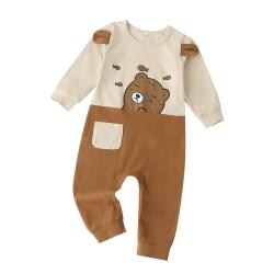 Toddler Baby Boys Girls Long Sleeve T Shirt Romper Jumsuit Coffee 0-6 Months
