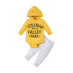 Toddler Girls Long Sleeve Hooded Romper Tops Trousers Newborn Yellow 6-9 Months