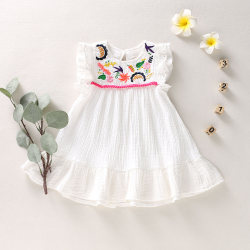 Småbarn Barnflickor Småbarn Ärmlös klänning Tryck Julklänningar 4-5Years