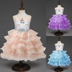 Unicorn Tulle Dress For Kids Baby Costume Birthday Blue 120 cm
