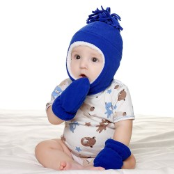 Winter Cute Comfortable Fashion Baby Ear Protection Gloves Set white&blue 54