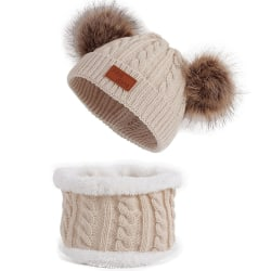 Winter Cute Fashion Double Ball Knitted Hat & Scarf Set For Kids beige