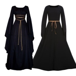Witch Dress Women Flare Sleeve Lace Up black XL