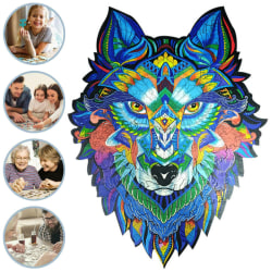 Wolf Wooden Jigsaw Puzzles Unique Animal Pieces Multicolor Gift A3