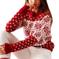 Women Autumn Winter Christmas Snowflake Long Sleeved Sweater white L