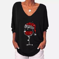 Women Christmas Printed Button Loose T Shirt Tops 3/4 Sleeve Black 4XL