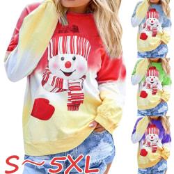 Women Christmas Snowman Gradient Color Long Sleeve blue 2XL