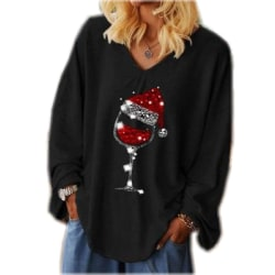 Women Christmas Wine Glass Printed T-shirt V-neck Long Sleeves Black XL