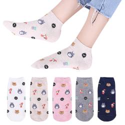 Women Cute Cartoon Totoro Pattern Socks Thin Elastic Comfort Dark Cyan
