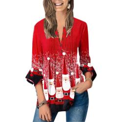 Women Irregular Chritsmas Floral Print Tee Three Quarter Sleeve Red L