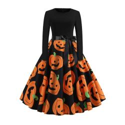 Women Long Sleeve Dress Ladies Halloween Print Big Pumpink S