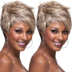 Women Ombre Layered Pixie Wig Ladies Short Straight Gold Ful