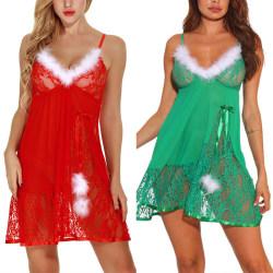 Women Sexy Christmas Style 2 Piece Set Lace Pajamas red m