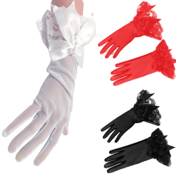 Womens Bow Knot Gloves Lace Bridal Party Wedding Fancy Dress White