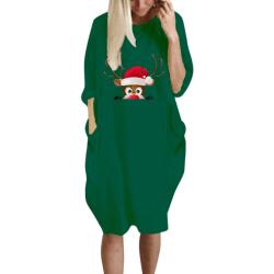 Womens Christmas Dress Oversized Long Sleeve Pocket Pullover Dark Green L