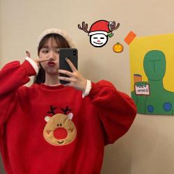 Womens Christmas False two-piece Sweatshirt Casual Xmas Jumper Red M