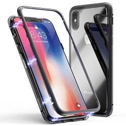 Top kvalitet magnet fodral med härdat glas för iphone Xs max