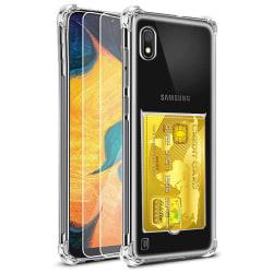 Samsung Galaxy A10 - Stilrent Skyddsskal med Kortfack Transparent/Genomskinlig