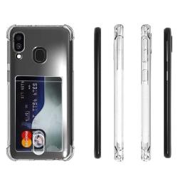 Samsung Galaxy A40 - Stöttåligt Silikonskal med Korthållare Transparent/Genomskinlig