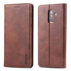 Robust Stötdämpande Plånboksfodral - Samsung Galaxy A6 Plus 2018 Mörkbrun