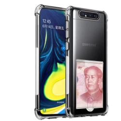 Samsung Galaxy A80 - Kraftfullt Skyddsskal med Korthållare Transparent/Genomskinlig