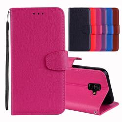 Elegant Fodral med plånbok till Samsung Galaxy A6 Plus Röd