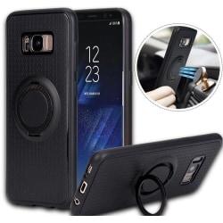 Galaxy S7 Edge - Smart Robust Silikonskal med Ringhållare Silver