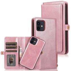 iPhone 12 - Praktiskt Stilrent 2 i 1 Plånboksfodral Roséguld
