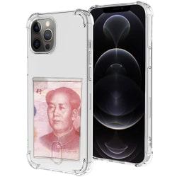 iPhone 12 Pro Max - Effektfullt Skyddsskal med Korthållare Transparent/Genomskinlig