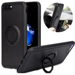 iPhone 5/5S/SE - Exklusivt Carbon Silikonskal med Ringhållare Guld