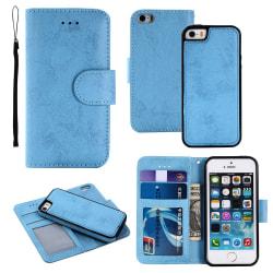 LEMAN Plånboksfodral med Magnetfunktion - iPhone 5/5S/SE Ljusblå