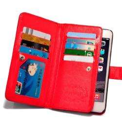 iPhone 6/6S Plus - Rymligt Fodral med 9 kortplatser Röd