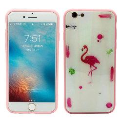 Elegant Skyddskal till iPhone 6/6S Plus (Härdat glas) Flamingo
