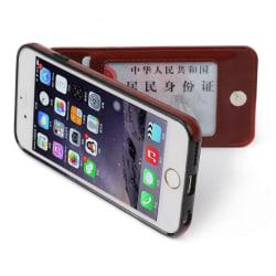 iPhone 7 PLUS - Elegant Praktiskt Läderskal med Plånbok/Kortfack Blå