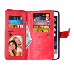 Elegant Smart 9-korts Plånboksfodral för iPhone 7 PLUS FLOVEME Röd