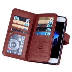 Stilrent Elegant 9-korts Plånboksfodral för iPhone 7 FLOVEME Röd
