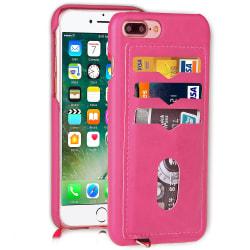 NYHET! Skal med Korthållare för iPhone 7 Plus (Vintage-Mark) Rosaröd
