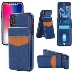 iPhone X/XS läderfodral med kortfack och magnetfunktion Blå