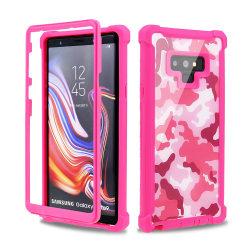 Samsung Note9 - Robust EXXO Skyddsfodral med Hörnskydd Kamouflage Rosa